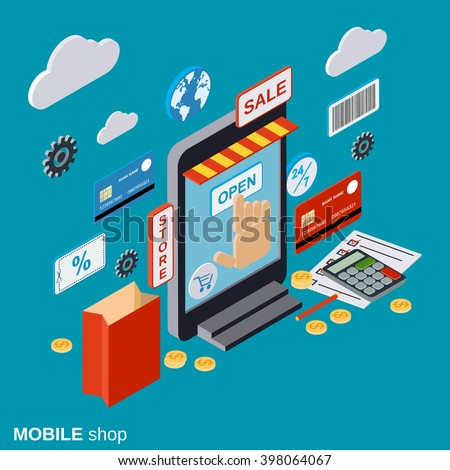Mobile store online shopping distant trade stock vector for Store mobili online