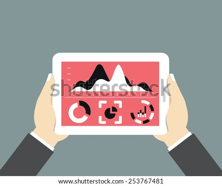 Mobile tablet pc with dashboard. Modern user interface for businessman with processing data - vector illustration - stock vector