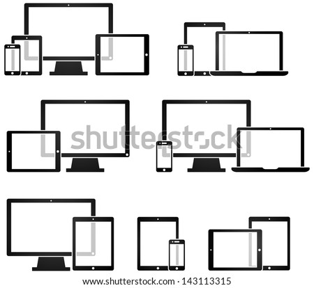 Mobile Technology and Device Symbols - stock vector