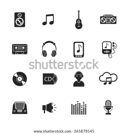 Mobile telephone navigation music symbols black pictograms collection with cd cassette player icon abstract isolated vector illustration - stock vector