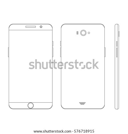 Smartphone Outline Template Stock Vector 567747421 - Shutterstock