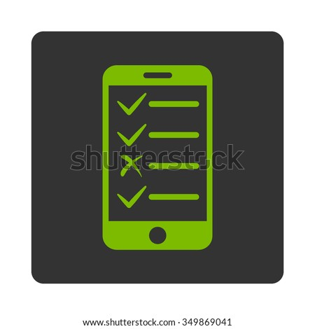 Mobile Test vector icon. Style is flat rounded square button, eco green and gray colors, white background. - stock vector