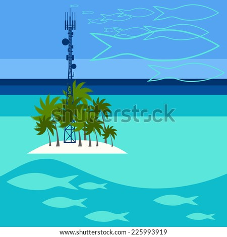 Mobile tower transmits dreams about fishes from Maldives - stock vector