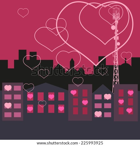 Mobile tower transmits love in to the homes  - stock vector
