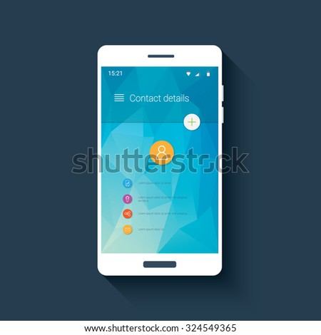 Mobile ui template with contact menu icon set on colorful low poly background. White line icons for smartphone user interface application. Eps10 vector illustration. - stock vector