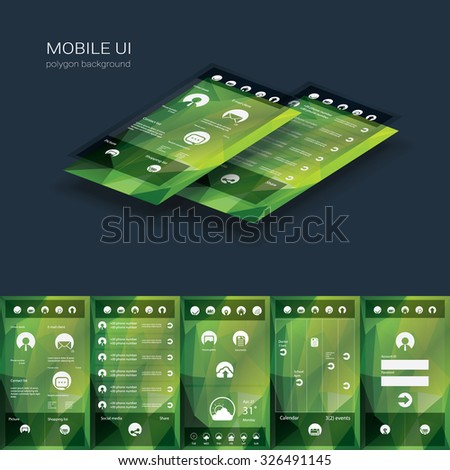 Mobile user interface vector template. Smartphone ui with flat design icons on low poly background. Eps10 vector illustration. - stock vector