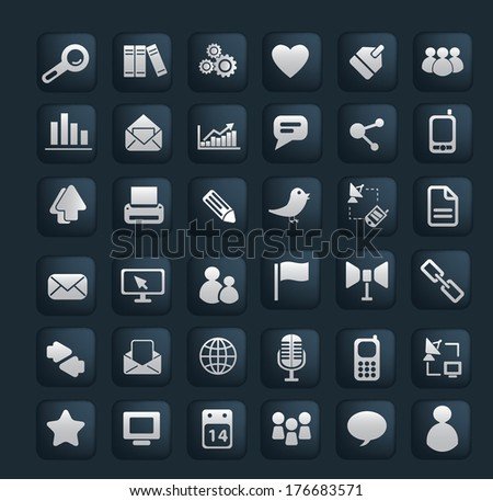 mobile, web, internet, business, phone, interface, design glossy buttons, icons set, vector on black background - stock vector