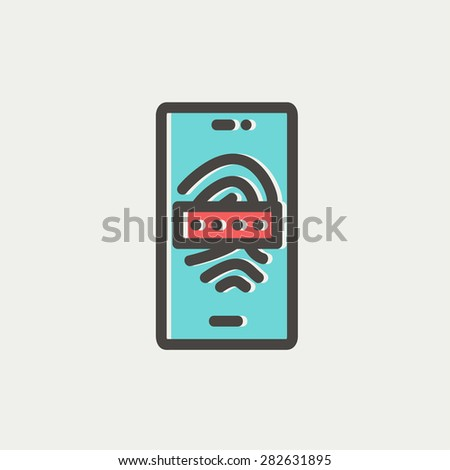Mobile wifi icon thin line for web and mobile, modern minimalistic flat design. Vector icon with dark grey outline and offset colour on light grey background. - stock vector