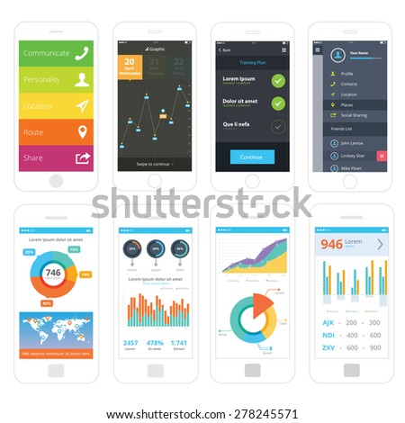 Mobile wire frames UI kit collection set. Menu mobile screen, graphic analysis mobile screen, training plan mobile screen, sidebar menu mobile screen, world analytic information screen, pie chart. - stock vector
