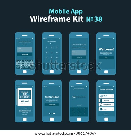 Mobile wireframe app ui kit 38. Authorize login screen, join us screen, enter your passcode screen, sign in screen, welcome screen, motivation tutorial slide screen, number security screen, category - stock vector