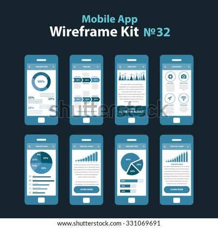 Mobile Wireframe App UI Kit 32 Stock-Vektorgrafik 331069691 ...