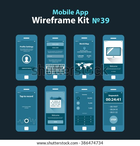 Mobile wireframe app ui kit 39 vectores en stock 386474734 mobile wireframe app ui kit 39 profile settings screen social login screen world gumiabroncs Images