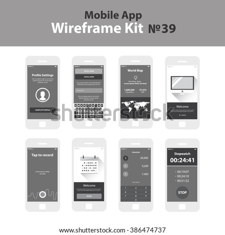 Mobile wireframe app ui kit 39 stock vector 386474737 shutterstock mobile wireframe app ui kit 39 profile settings screen social login screen world gumiabroncs Gallery