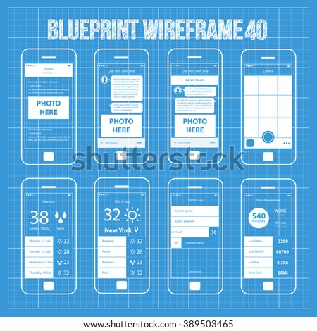 Mobile Wireframe App UI Kit 40. Search results screen, chat with friend screen, camera screen, weather world cities screen, day planner screen, time management screen. - stock vector
