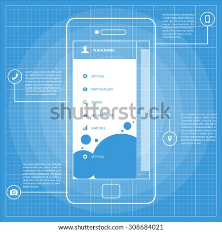 Mobile wireframe blueprint app ui kit stock vector 308684021 mobile wireframe blueprint app ui kit screen sidebar menu screen which can be used malvernweather Image collections