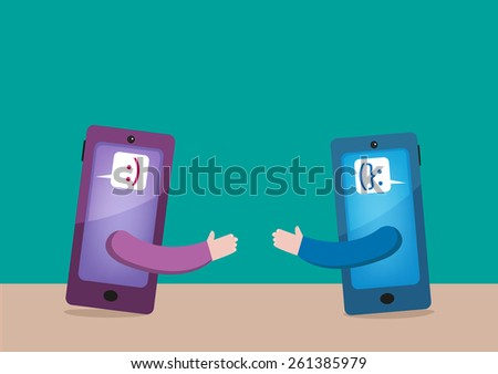 Mobile with Smiling Emoticons Meet Up and Shake Hands. Virtual Eyeball to Eyeball Meeting via Technological gadgets and services. Editable EPS10 Vector Illustration and jpg.  - stock vector