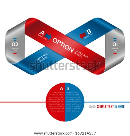 Mobius strip of paper. Vector option infographic. EPS 10. RGB. All effects are created with simple gradients, no transparency, no mesh.  File is layered with global colors. High res jpeg included.  - stock vector