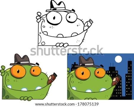 Mobster Frog Cartoon Character. Set Vector Collection