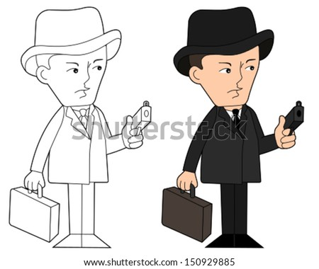 Mobster with gun and suitcase , cartoon / illustration, coloring book line-art - stock vector