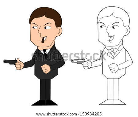 Mobster with gun cartoon / illustration, coloring book line-art - stock vector