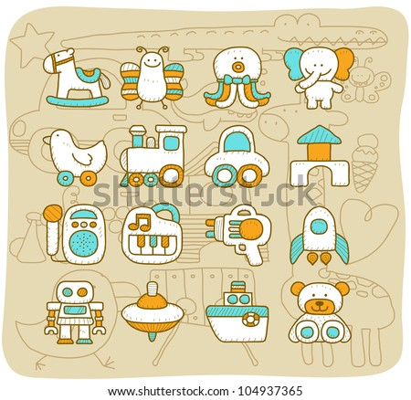 Mocha series | Toy,baby icon set - stock vector