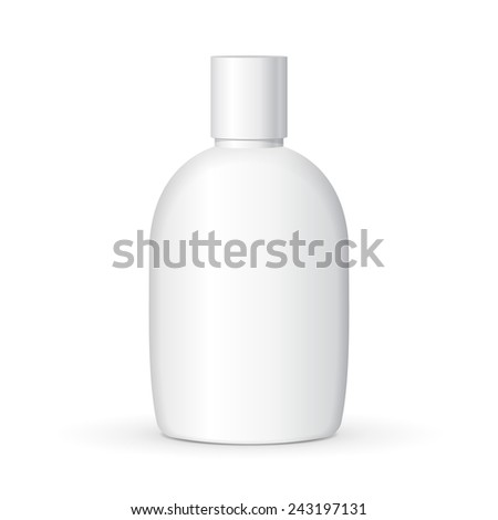 Mock Up Cream, Shampoo, Gel Or Lotion Plastic Bottle On White Background Isolated. Ready For Your Design. Product Packing Vector EPS10 - stock vector