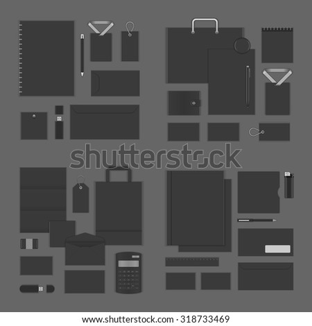 Mock up for Logo presentation corporate identity template design elements set. Vector Stationery objects business card, blank paper, envelope and other. - stock vector