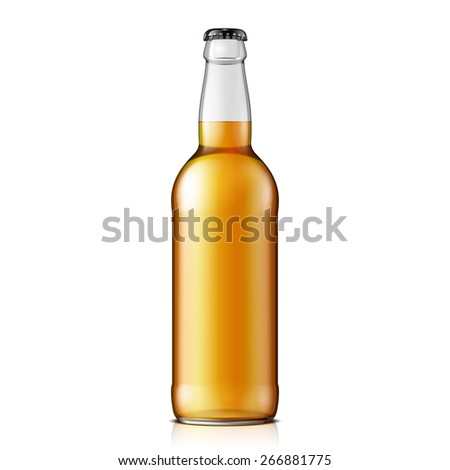 Mock Up Glass Beer Lemonade Cola Clean Bottle Yellow Brown On White Background Isolated. Ready For Your Design. Product Packing. Vector EPS10  - stock vector