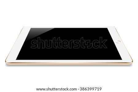 mock up gold tablet similar to ipades style perspective angle isolated on white vector design - stock vector