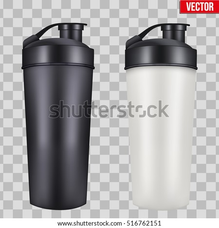 Mock-up Plastic Sport Nutrition Drink Bottle. For Whey Protein and Gainer Supplements. Fitness and GYM sports. Vector Illustration isolated on transparent background