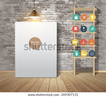 Mock up poster with vintage hipster loft interior background, With furniture flat icons, Vector illustration modern template design - stock vector