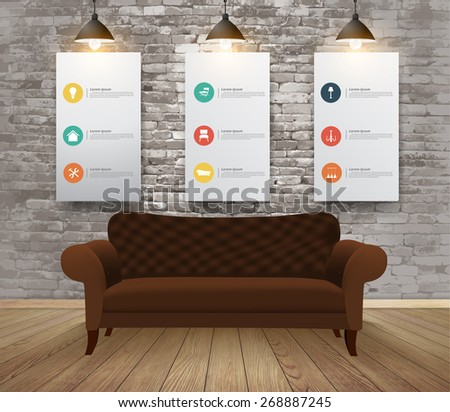 Mock up posters with retro hipster interior background, With furniture flat icons, Vector illustration modern template design - stock vector