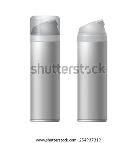 Mock up Shaving gel foam. light gray. With lid and without Realistic vector illustration - stock vector