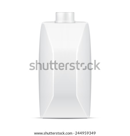Mock Up Small Juice Milk Carton Packages Blank White. Illustration Isolated On White Background. Ready For Your Design. Vector EPS10 - stock vector