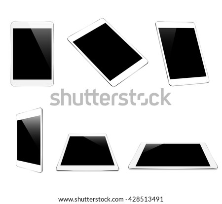 mock up white tablet isolated on white vector design - stock vector