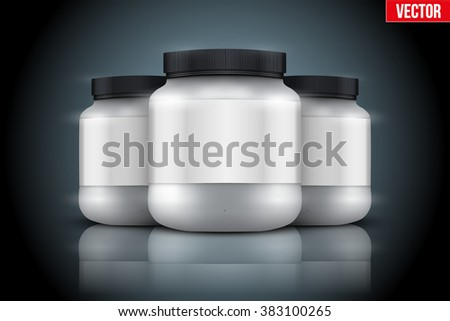 Mockup Background of Sport Nutrition Container. Silver Plastic Whey Protein and Gainer. Vector Illustration on dark  background - stock vector