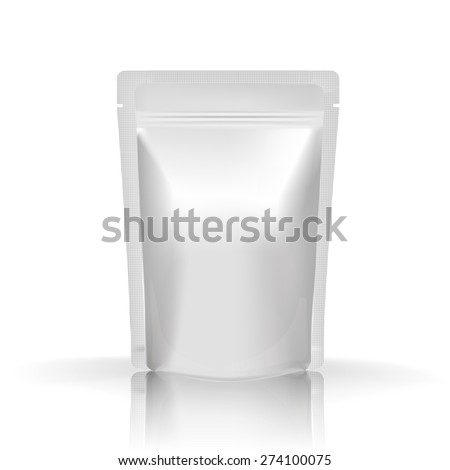 Mockup Blank Foil Food Or Drink. White Realistic Plastic Pouch Ready For Your Design And Branding. - stock vector