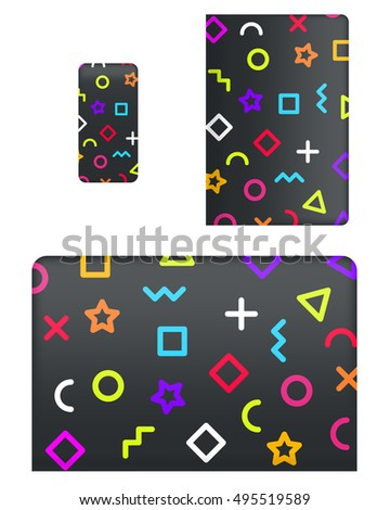 Mockup covers for technology device. Template case or sticker for mobile phone, tablet and laptop. Vector illustration for branding, advertising, business and corporate identity.