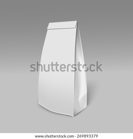 Mockup Foil Food Bag Package Of Coffee, pSalt, Sugar, Pepper, Spices Or Flour, Filled, Folded,. Plastic Pack Template for your design and branding. Vector - stock vector