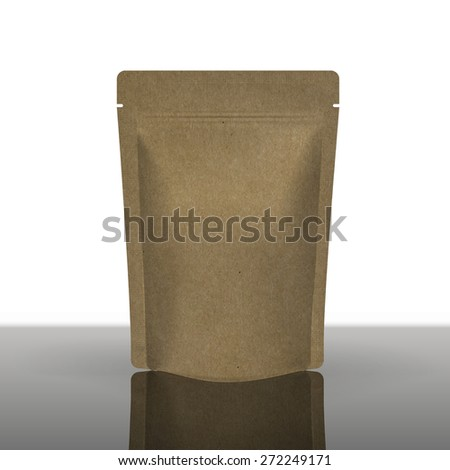 Mockup Foil Food Bag Package Of Coffee, Tea, Salt, Sugar, Pepper, Spices Or Flour, Filled, Folded,. Plastic Pack Template for your design and branding.  - stock vector