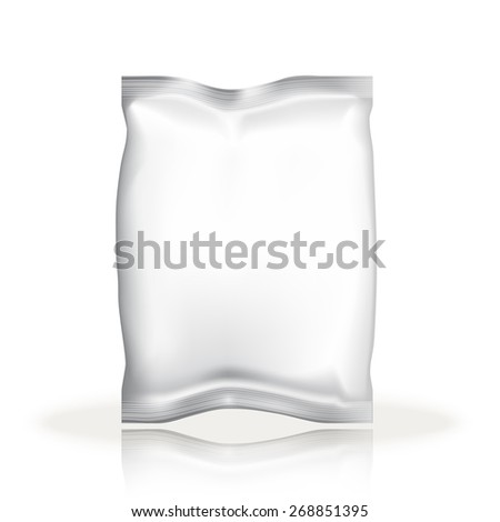 Mockup Foil Food Snack pack For Chips, Spices, Coffee, Salt, and other products. Plastic Pack Template for your design and branding. Vector