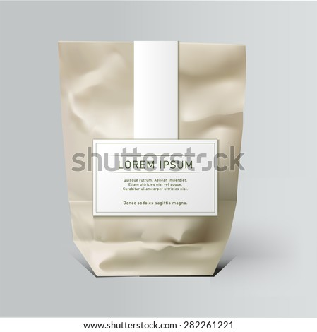 Mockup Foil Food Snack pack For Chips, Spices, Coffee, Salt, and other products. Plastic Pack Template for your design and branding. Vector. Realistic packaging with label and typography - stock vector