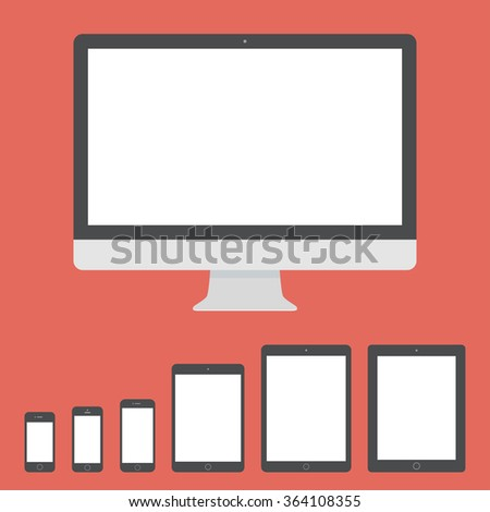 mockup gadget and device icons set in the style flat design on the red background. stock vector illustration eps10 - stock vector