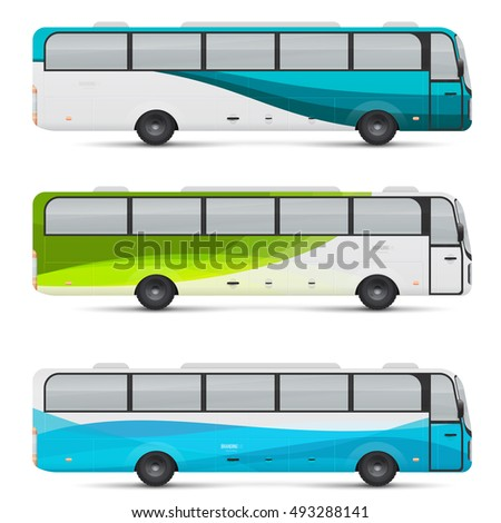 Mockup of passenger bus. Design templates for transport. Branding for advertising and corporate identity. Graphics elements for business or inspiration.