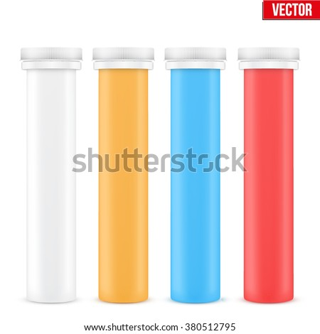 Mockup Plastic Bottle with Cap for Vitamins and Label. Vector Illustration isolated on white background - stock vector