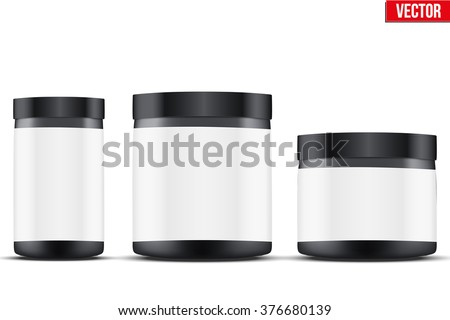 Mockup Sport Nutrition Container. Black Plastic Whey Protein and Gainer. Vector Illustration isolated on white background