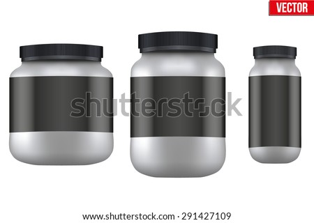 Mockup Sport Nutrition Container. Silver Plastic Whey Protein and Gainer. Vector Illustration isolated on white background - stock vector