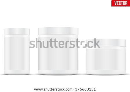Mockup Sport Nutrition Container. White Plastic Whey Protein and Gainer. Vector Illustration isolated on white background
