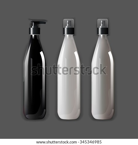 Mockup template for branding and product designs. Isolated realistic bottles with shadows. Easy to use for advertising and cosmetic products. - stock vector