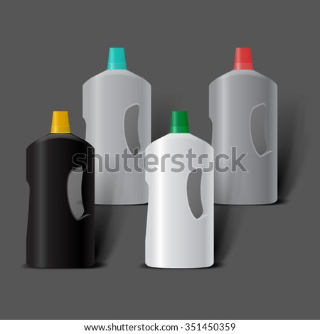 Mockup template for branding and product designs. Isolated realistic plastic bottles with shadows. Easy to use for advertising. Cleaning products layout. - stock vector